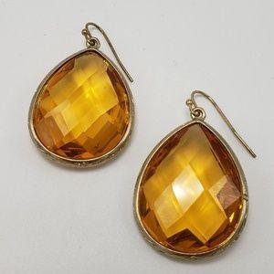 Amber Jewel Pear Shape Drop Earrings